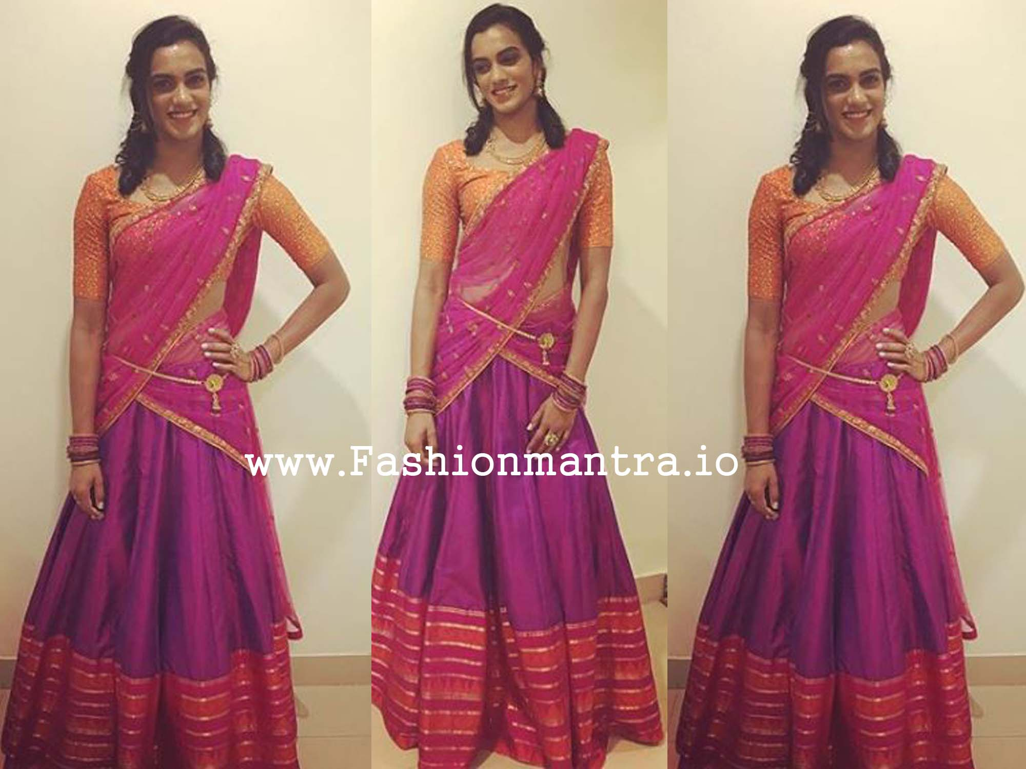 Pv sindhu in Traditional Half Saree