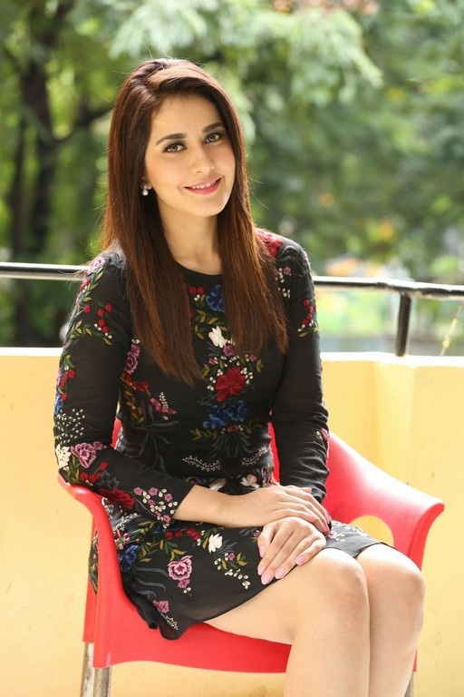 Raashi Khanna in Black Floral Embroidered Dress