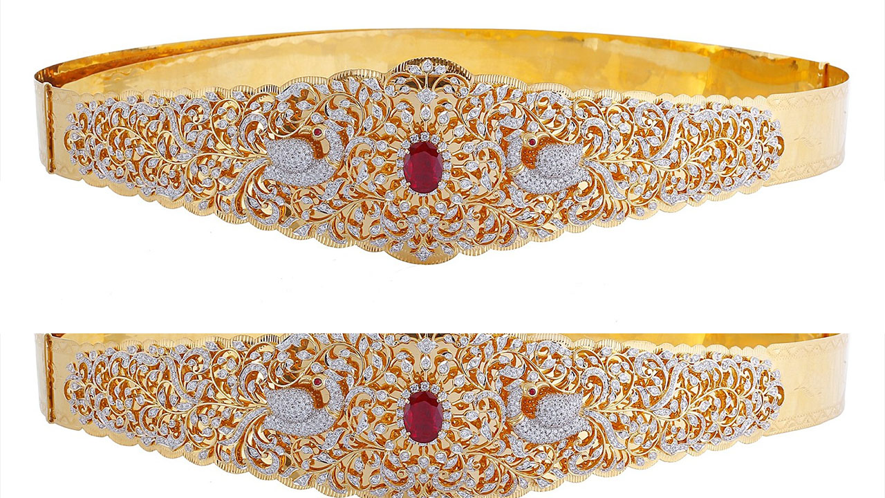 Chain Type Belt With Flower Vaddanams