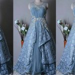 Blue Color Long Netted Frocks