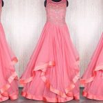 Pink Color Long Netted Frocks