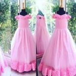 Top Pink Color Long Netted Frocks
