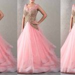 Best Pink Color Long Netted Frocks